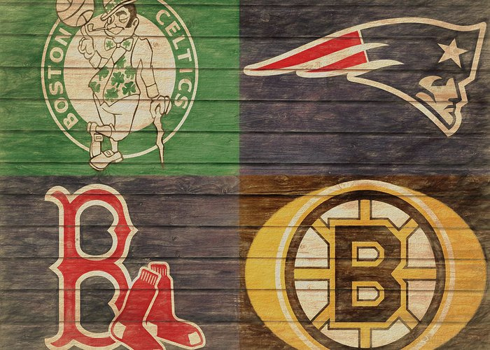 Boston Sports Teams Barn Door Greeting Card featuring the mixed media Boston Sports Teams Barn Door by Dan Sproul