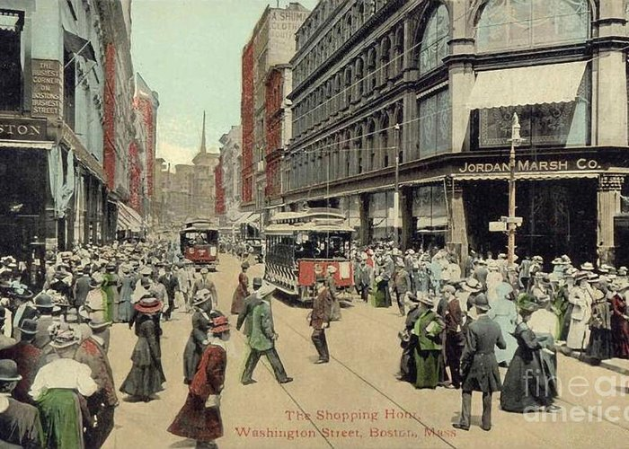 1910 Greeting Card featuring the photograph Boston: Washington Street by Granger