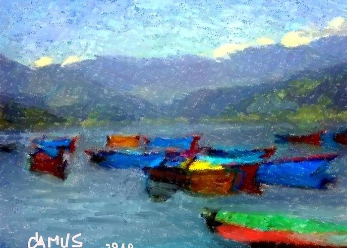 Art Greeting Card featuring the painting Botes by Carlos Camus