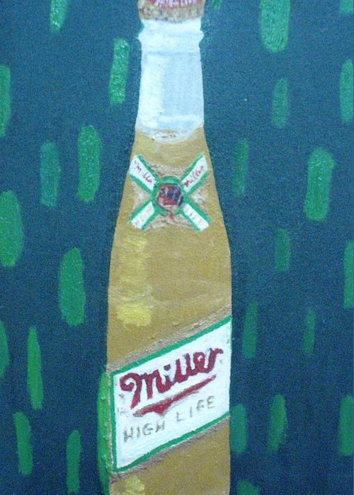Pop Art Greeting Card featuring the painting Bottle Of Miller Beer by Patrice Tullai