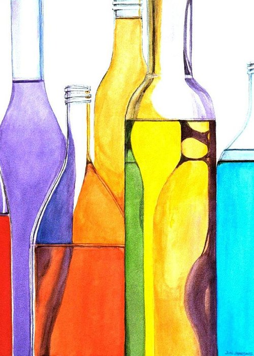 Bottle Greeting Card featuring the painting Bottled Rainbow 1 by Jun Jamosmos