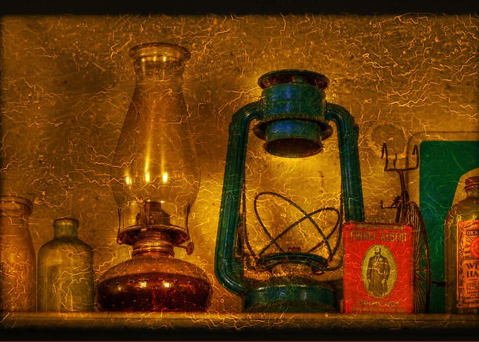 Bottle Greeting Card featuring the photograph Bottles And Lamps by Evelina Kremsdorf