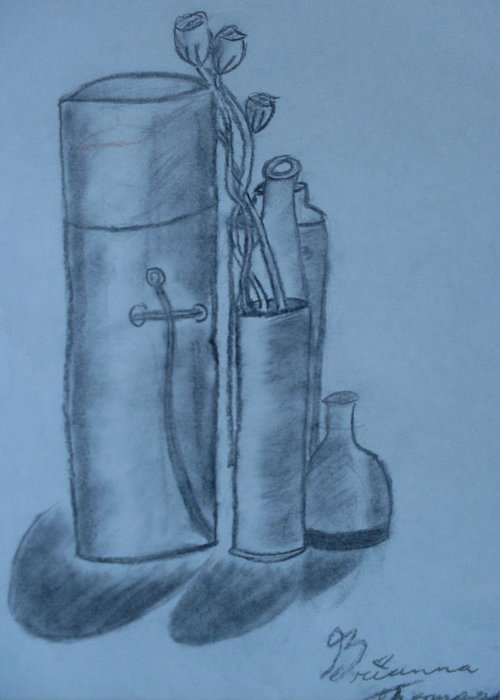 Charcoal Bottles Still Life Greeting Card featuring the drawing Bottles And Shadows by Brianna Emily Thompson