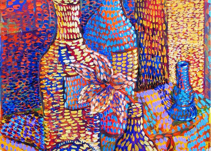 Still Life Greeting Card featuring the painting Bottles and Vases by Rollin Kocsis