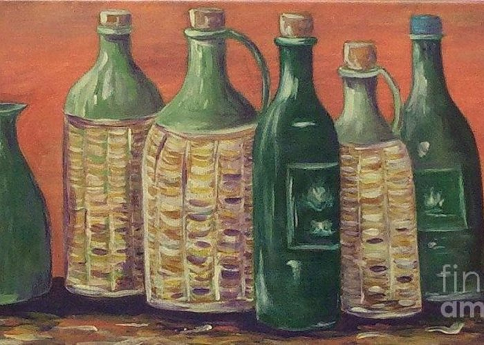 Bottle Greeting Card featuring the painting Bottles by Jeanie Watson