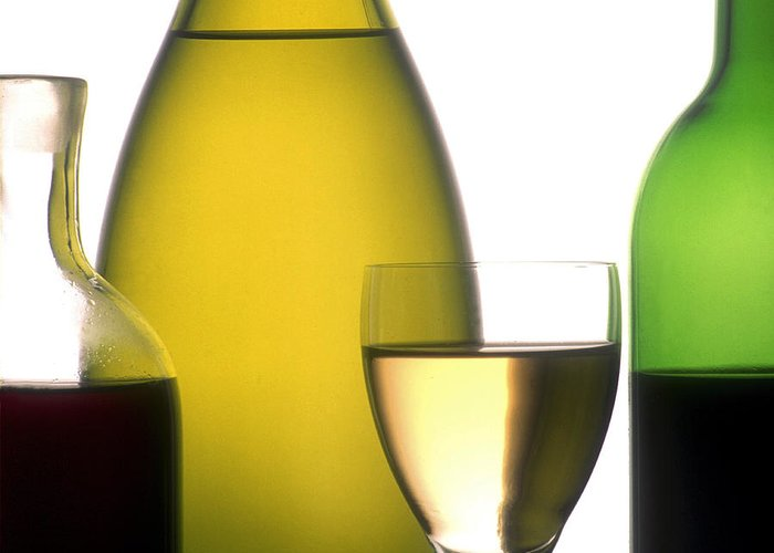 Wines; Wine; White; Ups; Up; Studio; Rose; Ros�; Red; Products; Product; Photo; Outs; Out; Nourishments; Nourishment; Internal Nobody; Interior; Inside; Indoors; Indoor; Inboard; Glasses; Glass; Foodstuffs; Foodstuff; Foods; Food; Drinks; Drinking; Drink; Display; Details; Detail; Cutouts; Cutout; Cut-outs; Cut-out; Cut; Closeups; Closeup; Close-ups; Close-up; Close; Bottles; Bottle; Blush; Beverages; Beverage; And; Alcoholic; Alcohol; French Greeting Card featuring the photograph Bottles Of Variety Vine by Bernard Jaubert