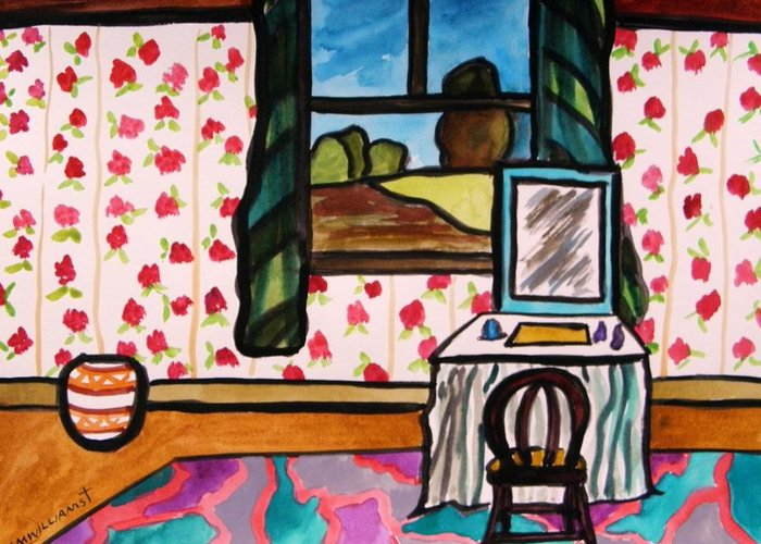 Window Greeting Card featuring the painting Boudoir by John Williams