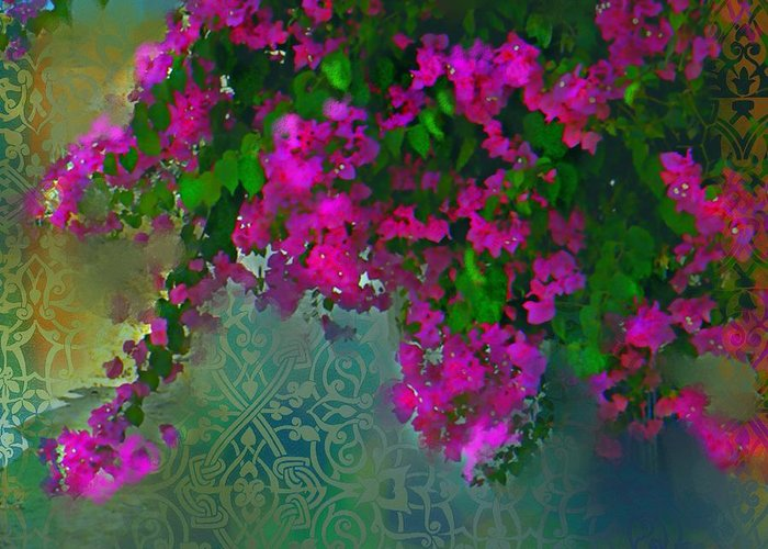 Garden Greeting Card featuring the mixed media Bougainville Delight by Seema Sayyidah