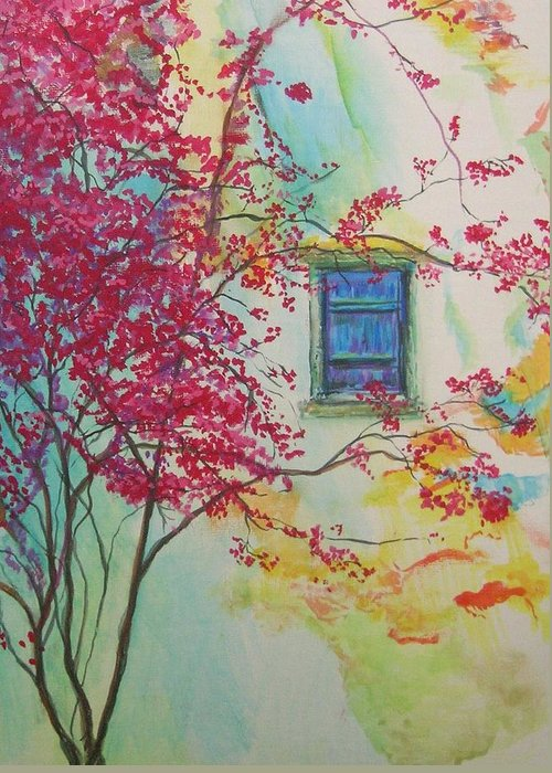 Bouganvilla Greeting Card featuring the painting Bouganvilla And Blue Shutter by Lizzy Forrester