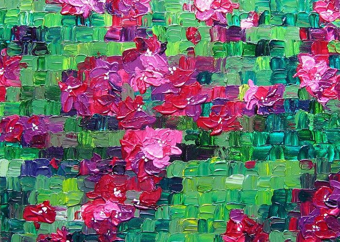 Floral Greeting Card featuring the painting Bouganvillea - Tiled by Wanda Pepin