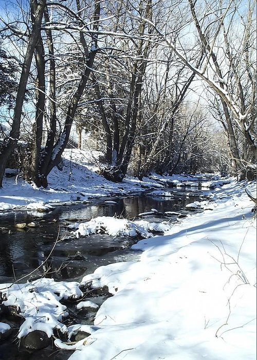 Winter Greeting Card featuring the photograph Boulder Creek After A Snowstorm by NaturesPix