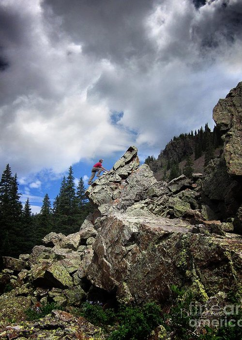 Weminuche Wilderness Greeting Card featuring the photograph Bouldering On The Flint Creek Trail - Weminuche Wilderness by Bruce Lemons