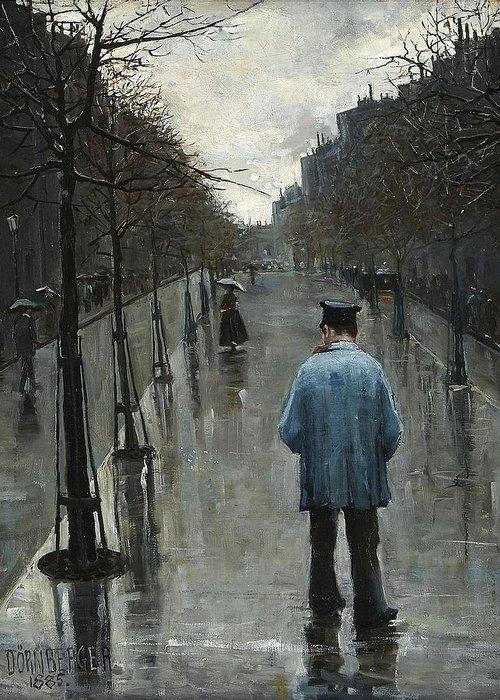 Carl DÖrnberger Norge 1864-1940 Gatuscen Greeting Card featuring the digital art Boulevard Des Batignolles by Mark Carlson