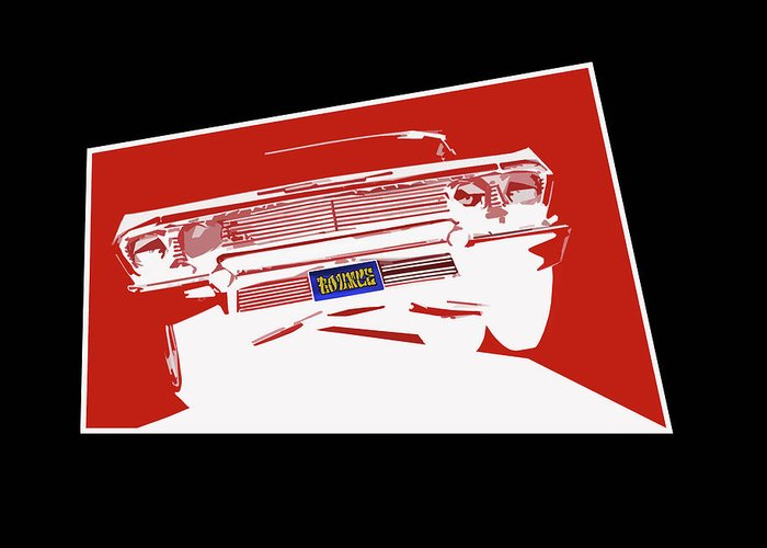 Lowrider Greeting Card featuring the digital art Bounce. '63 Impala lowrider. by Colin Tresadern
