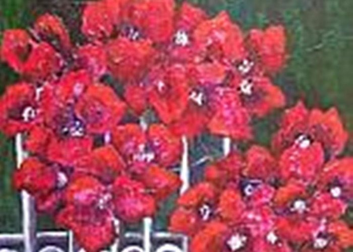 Greeting Card featuring the painting Bounganvillia On Fence by Carol P Kingsley