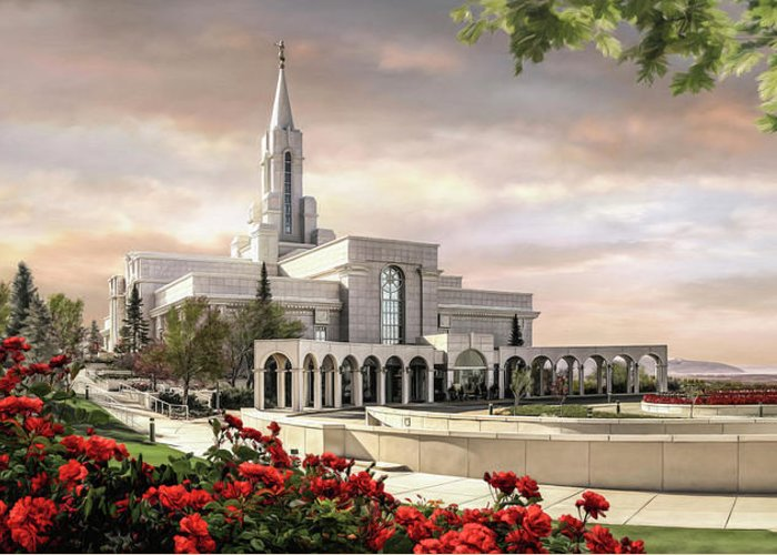 Bountiful Greeting Card featuring the painting Bountiful Temple by Brent Borup