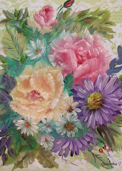 Rose Greeting Card featuring the painting Bouquet 2 by Quwatha Valentine