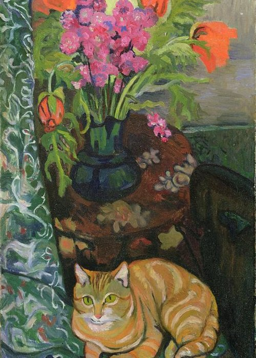 Bouquet Greeting Card featuring the painting Bouquet And A Cat by Marie Clementine Valadon