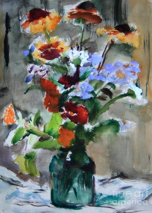 Bouquet Greeting Card featuring the painting Bouquet by Andrey Semionov