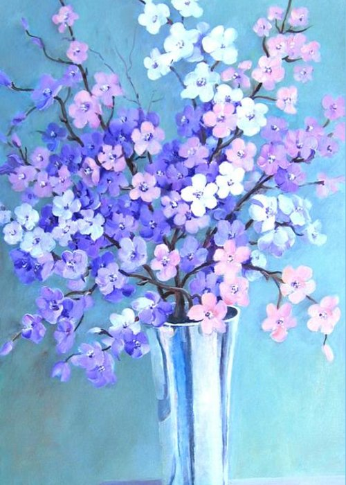 Flowers Greeting Card featuring the painting Bouquet In Silver Vase by Marta Styk