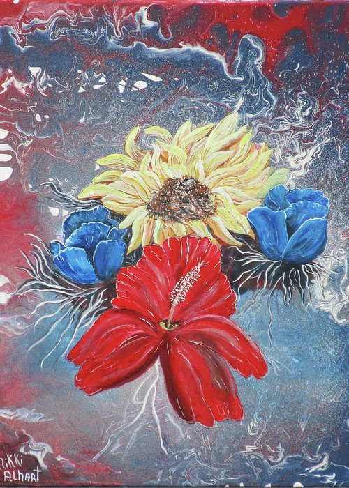 Floral Greeting Card featuring the painting Bouquet by Mikki Alhart