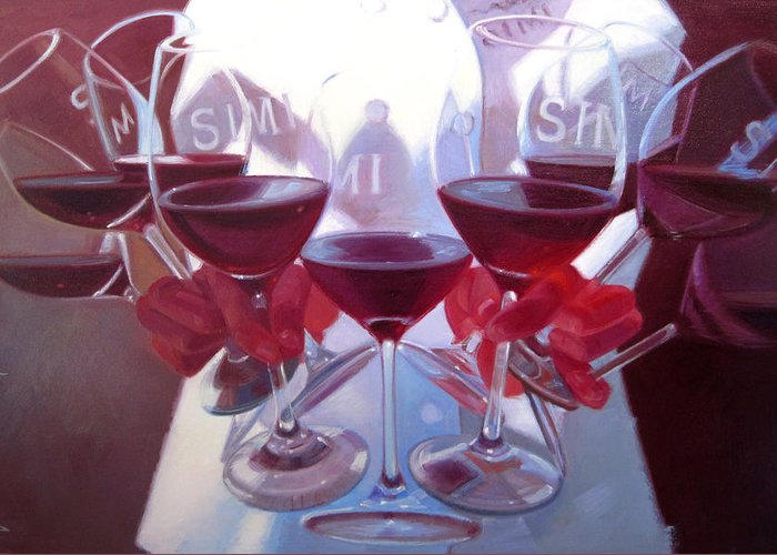 Wine Painting Greeting Card featuring the painting Bouquet Of Cabernet by Penelope Moore