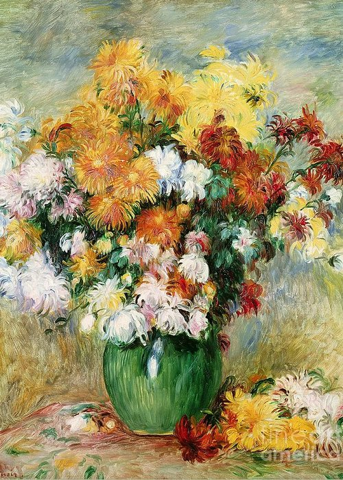 Bouquet Greeting Card featuring the painting Bouquet Of Chrysanthemums by Pierre Auguste Renoir