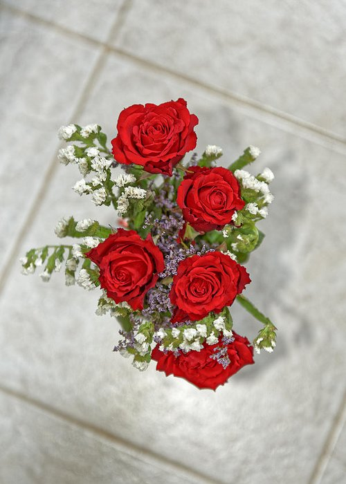 Anniversary Greeting Card featuring the photograph Bouquet of red roses by Adrian Bud