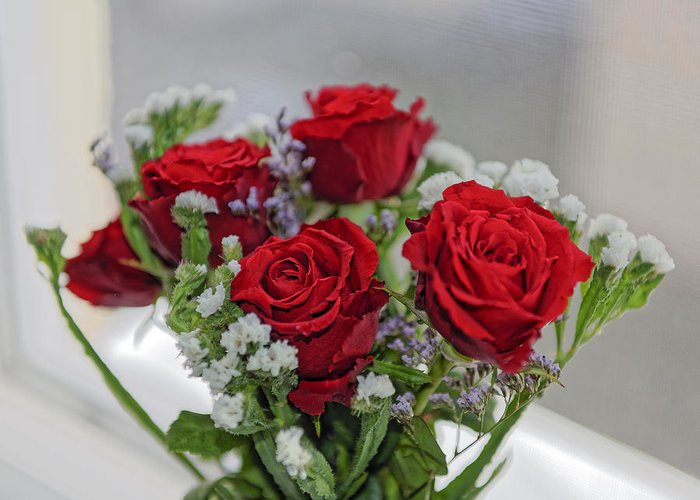 Anniversary Greeting Card featuring the photograph Bouquet of red roses with white carnations by Adrian Bud