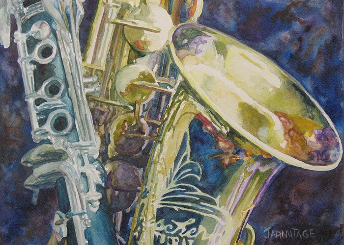 Sax Greeting Card featuring the painting Bouquet Of Reeds by Jenny Armitage