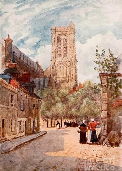 Herbert Menzies Marshall - Bourges Greeting Card featuring the painting Bourges by MotionAge Designs