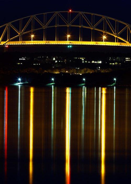 Bourne Bridge Greeting Card featuring the photograph Bourne Bridge At Night Cape Cod by Matt Suess
