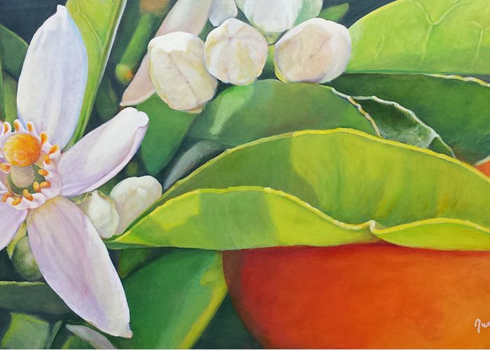 Floral Painting Greeting Card featuring the painting Boutons, Orange et Fleur by Muriel Dolemieux