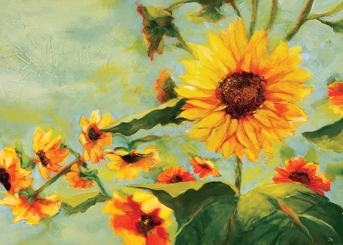 Sunflower Greeting Card featuring the painting Bow Down by Jen Norton