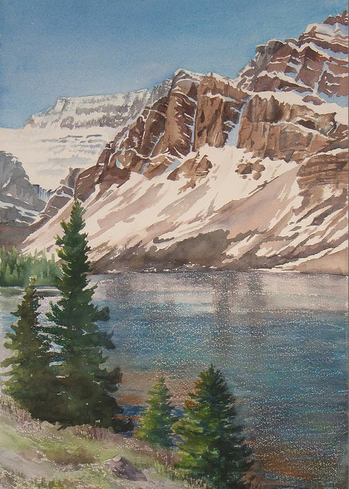 Bow Lake Greeting Card featuring the painting Bow Lake Alberta by Debbie Homewood