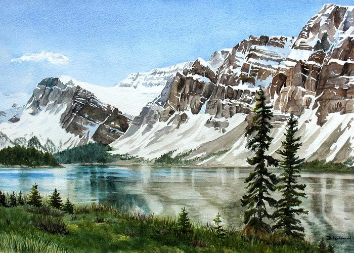 Bow Lake Greeting Card featuring the painting Bow Lake Alberta No.2 by Debbie Homewood