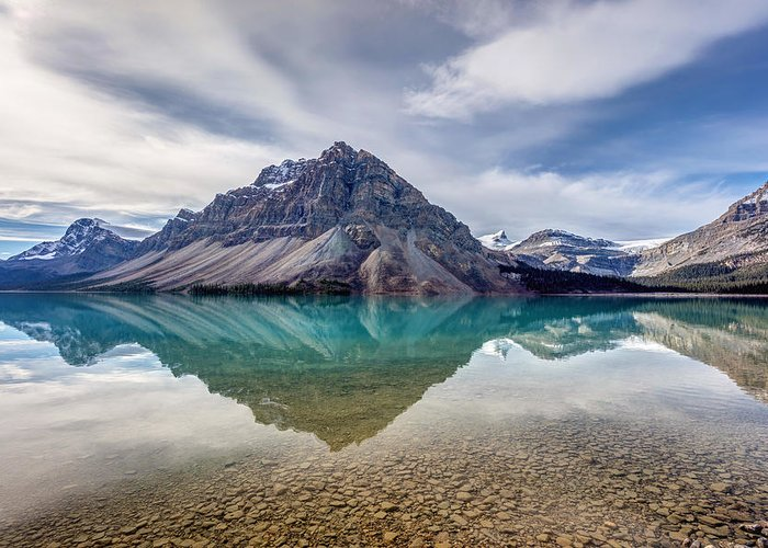 5dsr Greeting Card featuring the photograph Bow Lake Reflection From Num-ti-jah Lodge by Pierre Leclerc Photography