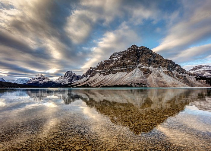 5dsr Greeting Card featuring the photograph Bow Lake Reflection by Pierre Leclerc Photography