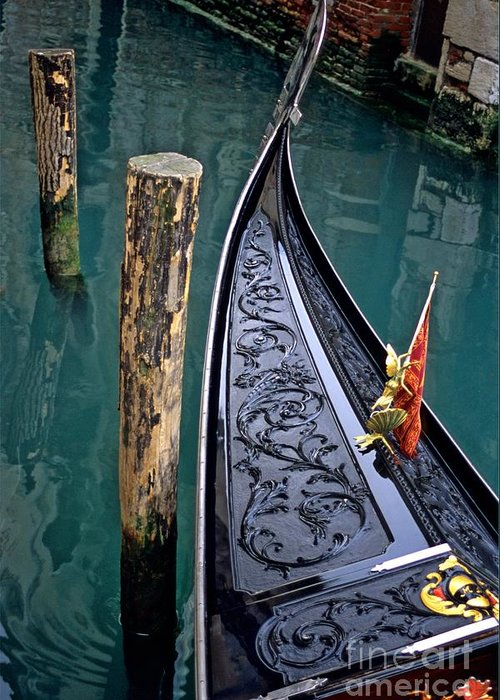 Italy Greeting Card featuring the photograph Bow Of Gondola In Venice by Michael Henderson