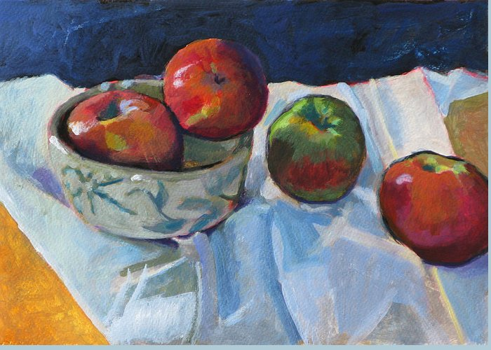 Apple Greeting Card featuring the painting Bowl Of Apples by Robert Bissett