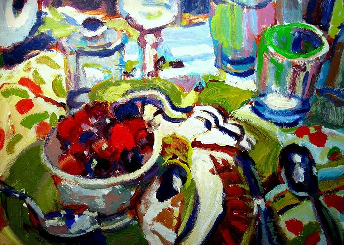 Still Life Paintings Greeting Card featuring the painting Bowl Of Cherries by Brian Simons