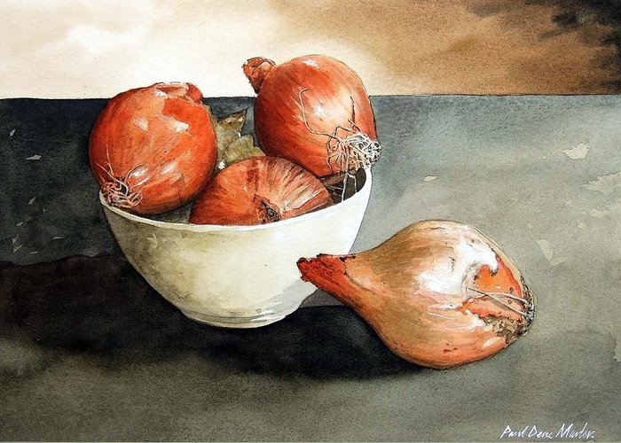 Still Life Greeting Card featuring the painting Bowl Of Onions by Paul Dene Marlor