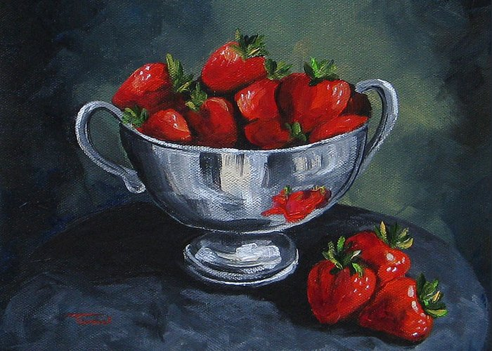 Strawberries Greeting Card featuring the painting Bowl Of Strawberries by Torrie Smiley