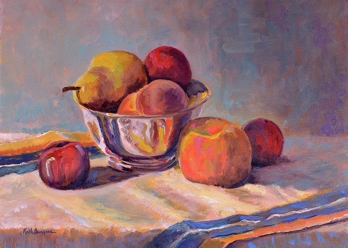 Still Greeting Card featuring the painting Bowl With Fruit by Keith Burgess