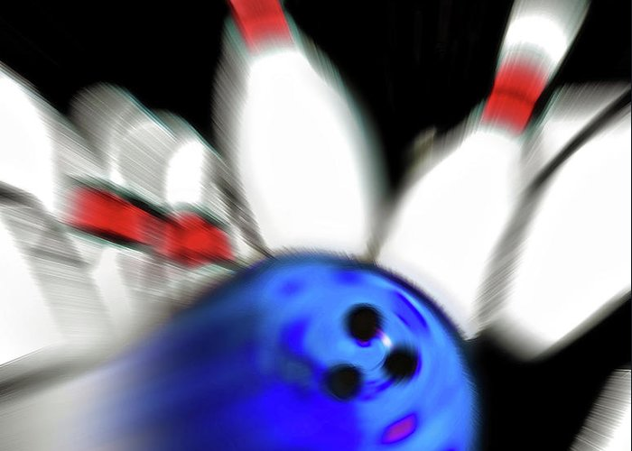 Bowl Greeting Card featuring the photograph Bowling Sign 2 - Strike by Steve Ohlsen