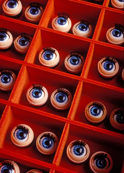 Box Greeting Card featuring the photograph Box Full Of Doll Eyes by Garry Gay