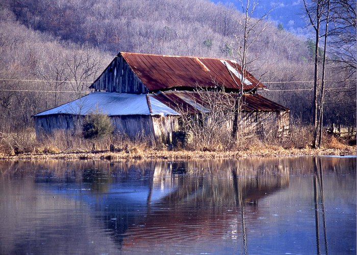 Greeting Card featuring the photograph Boxely Barn Reflection by Curtis J Neeley Jr