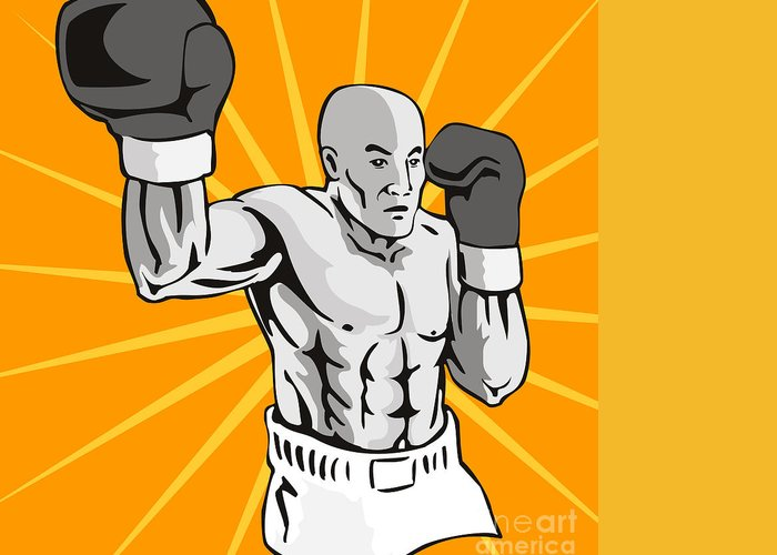 Boxer Greeting Card featuring the digital art Boxer Boxing Knockout Punch Retro by Aloysius Patrimonio