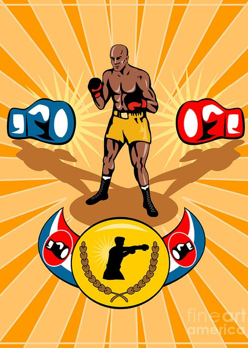 Boxer Greeting Card featuring the digital art Boxer Boxing Poster by Aloysius Patrimonio