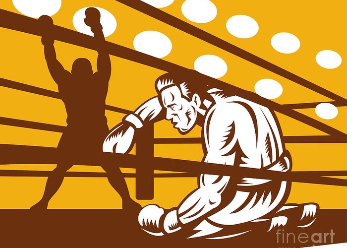 Boxing Greeting Card featuring the digital art Boxer Down On His Hunches by Aloysius Patrimonio